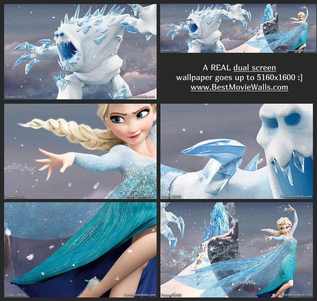 Dualscreen wallpaper with Elsa and Marshmallow :] by BestMovieWalls