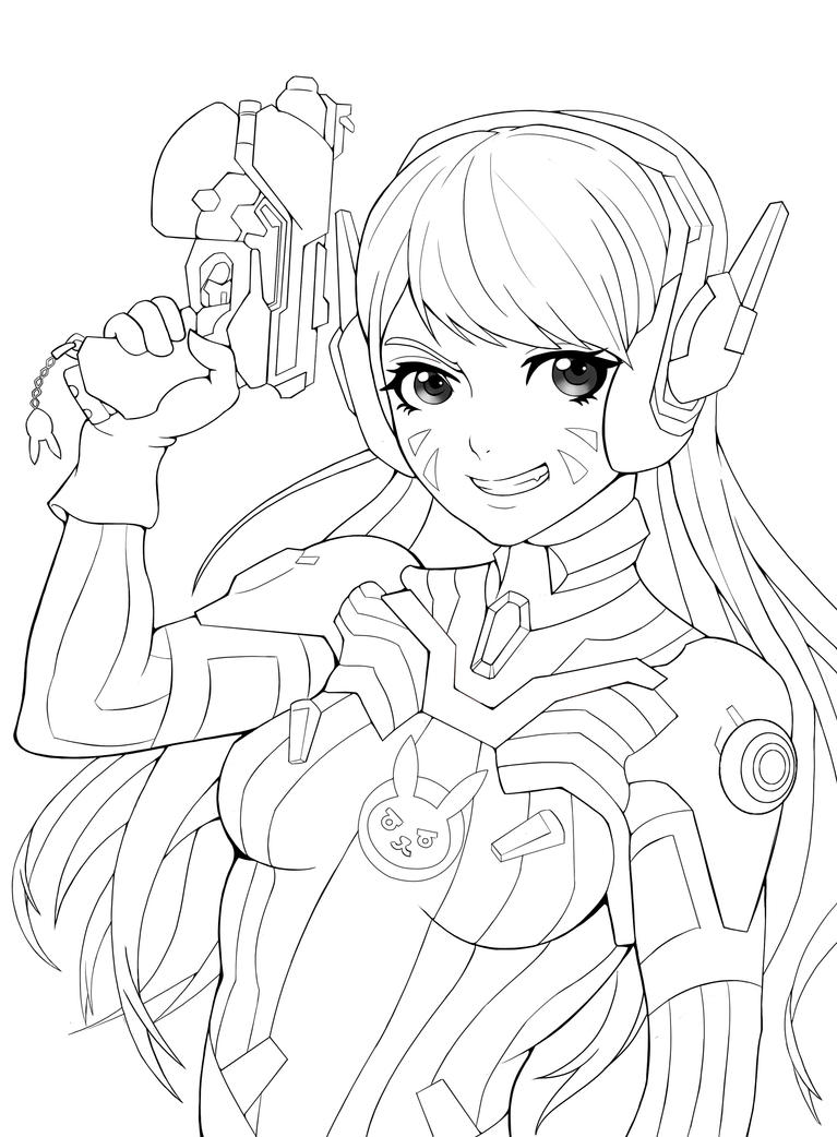 Drawing Lines With D : Overwatch d va line art by alvinmomo on deviantart