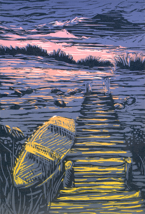 Lino Color Sunset At Lily Pond By Printmakers
