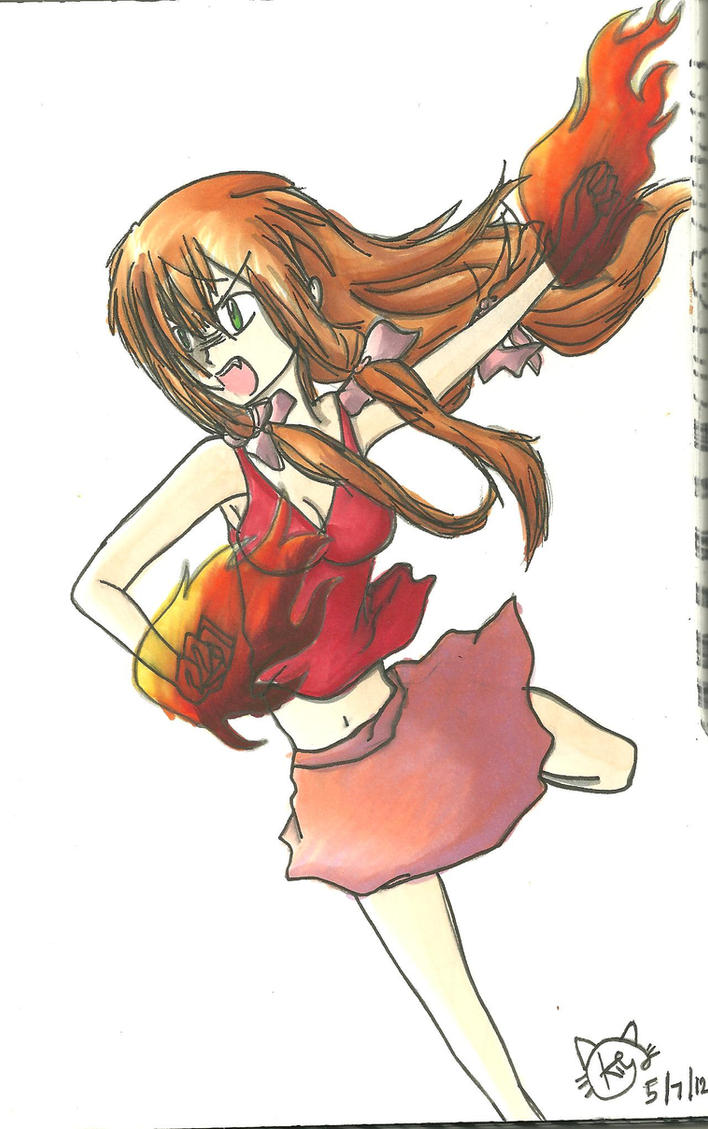 Kyoko FIRE!!! by KiyaSparleVampire