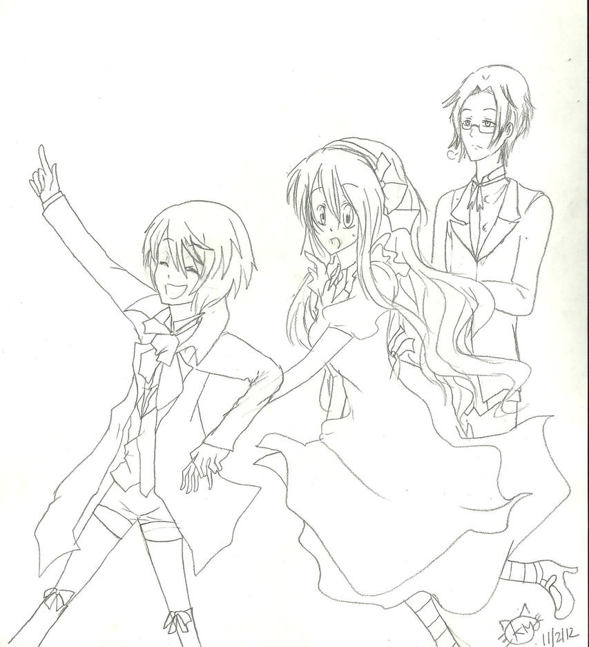 Leader Alois , Kyoko and Claude by KiyaSparleVampire