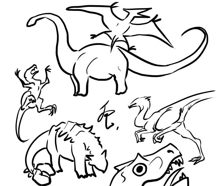dinos doodle by FeatheryDragon
