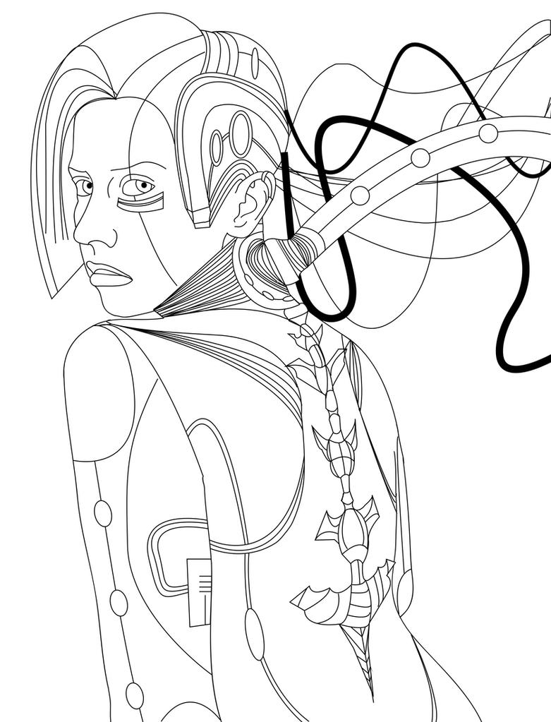 Cyborg Line Art by Cecixx19