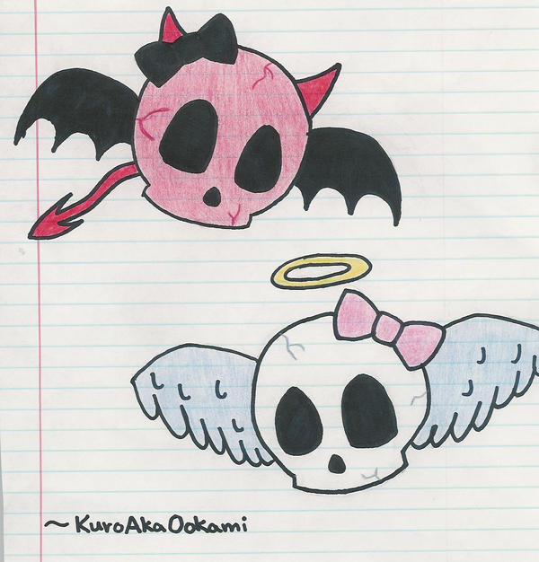 Angel and Devil Skulls by KuroAkaOokami