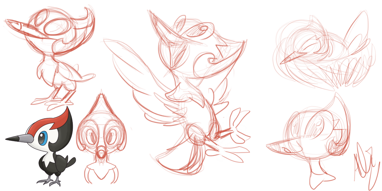 pikipek sketchs by fluffyartpop