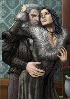 Yennifer and Geralt Moments by RafaDG