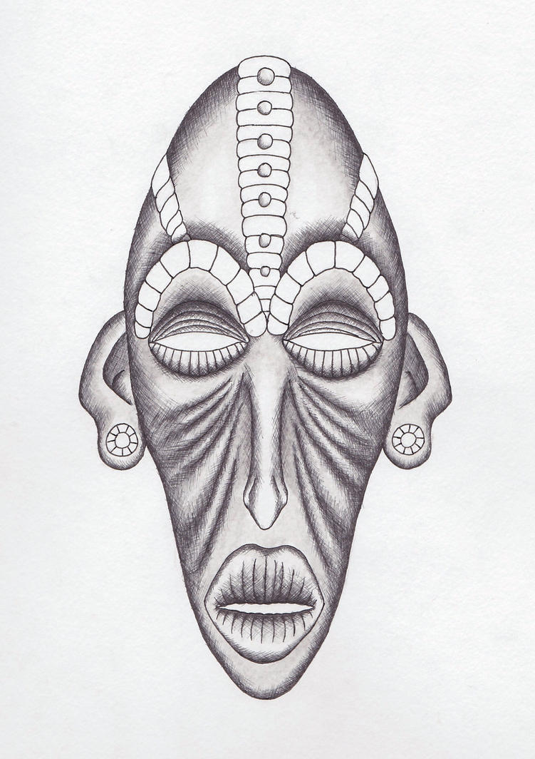 African Masks Drawings African Tribal Mask Drawing