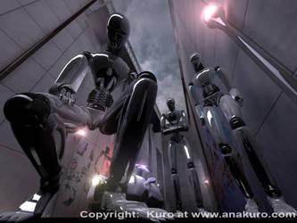 3 robots vs kitty by Kuro-Mori