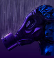 Gas Mask in the rain by DrGlass