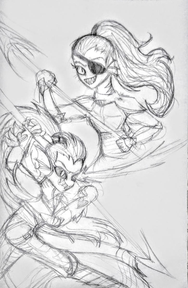 Undyne and Undying SKETCH by GhostQueen1312