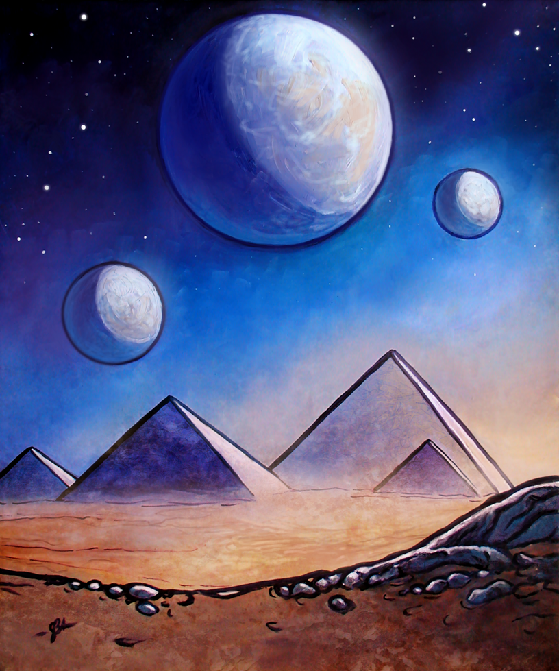 Alien landscape v outer space pyramids by art dewhill on for Outer space landscape