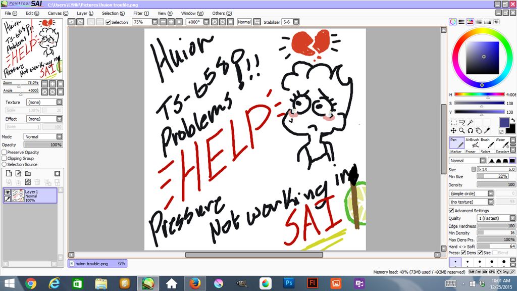 Huion S No Pen Pressure In Paint Tool Sai