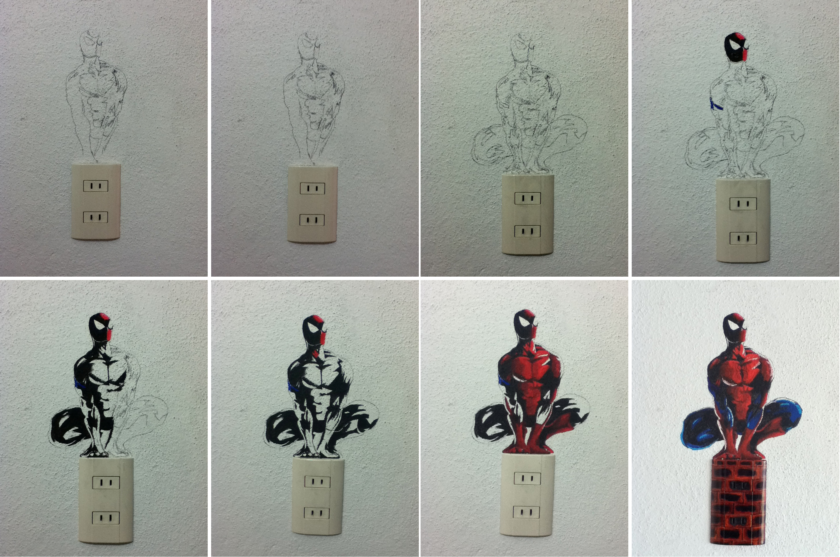 spiderman on the wall process by slan 12 on deviantart