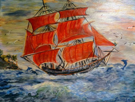 On scarlet sails to the dream