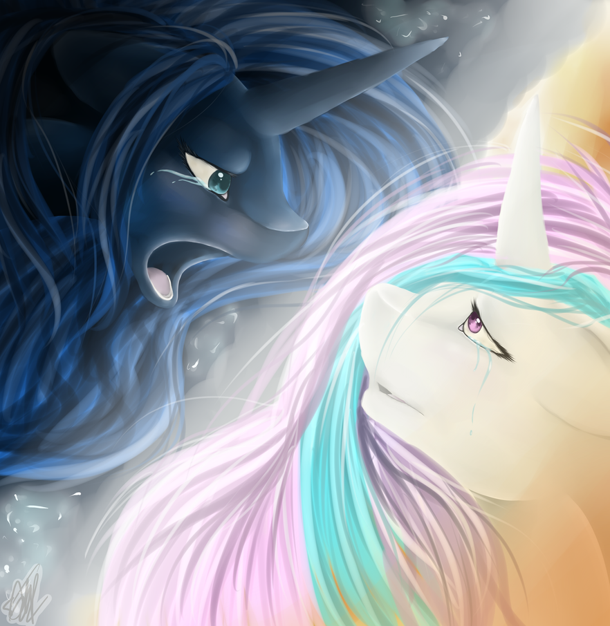 Luna vs Celestia by yorewolfdragon67