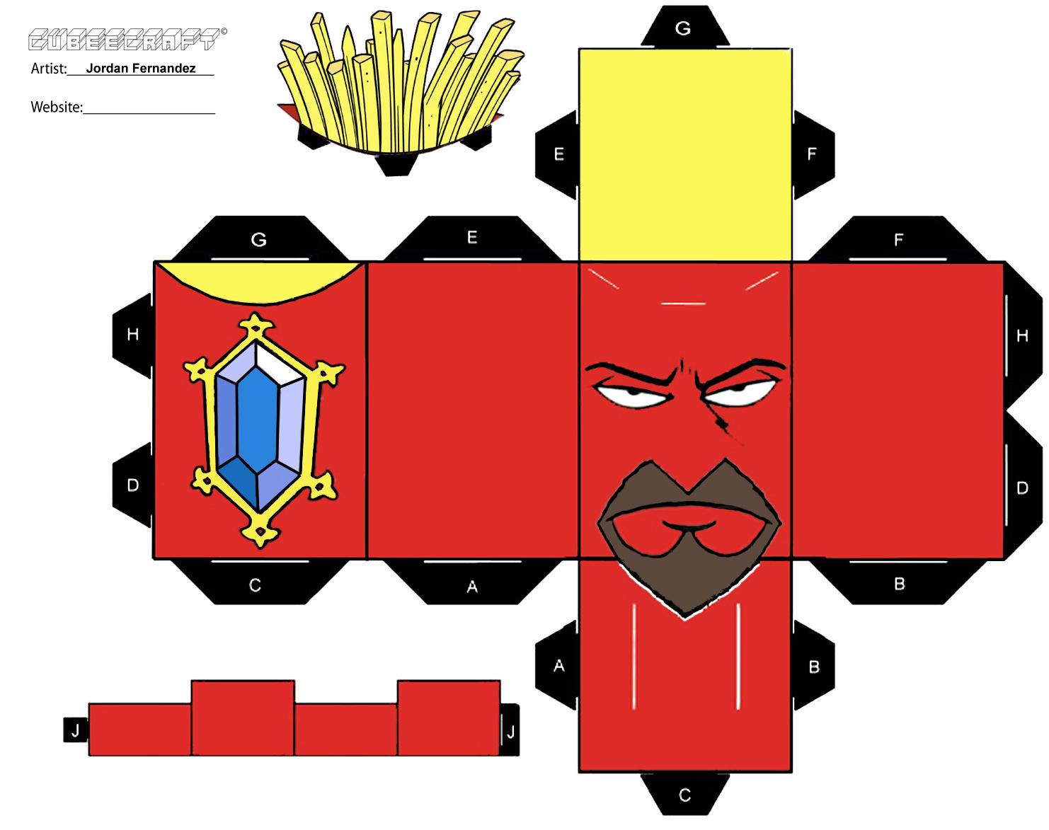 Frylock cubee template by jordof131
