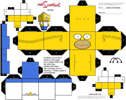 Homer Simpson Cubee Template by jordof131