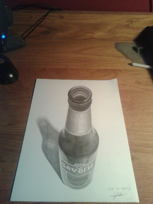 3D drawing Beer bottle by Jeroen88 on DeviantArt