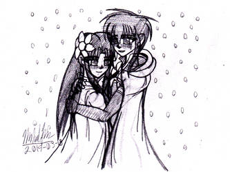 [Drawing] Saki x Zanryu - Hugging in Winter by ZanZanryu