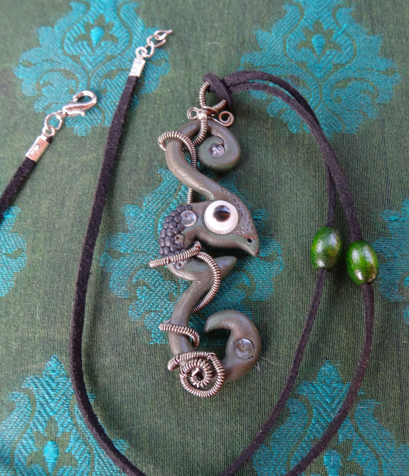 Polymer clay chameleon pendant with wrapped wire by ...