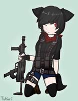 Digital Art - Fox Girl Military by Tukari-G3