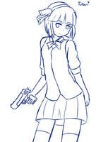 Digital sketch - Youmu Konpaku with deagle by Tukari-G3