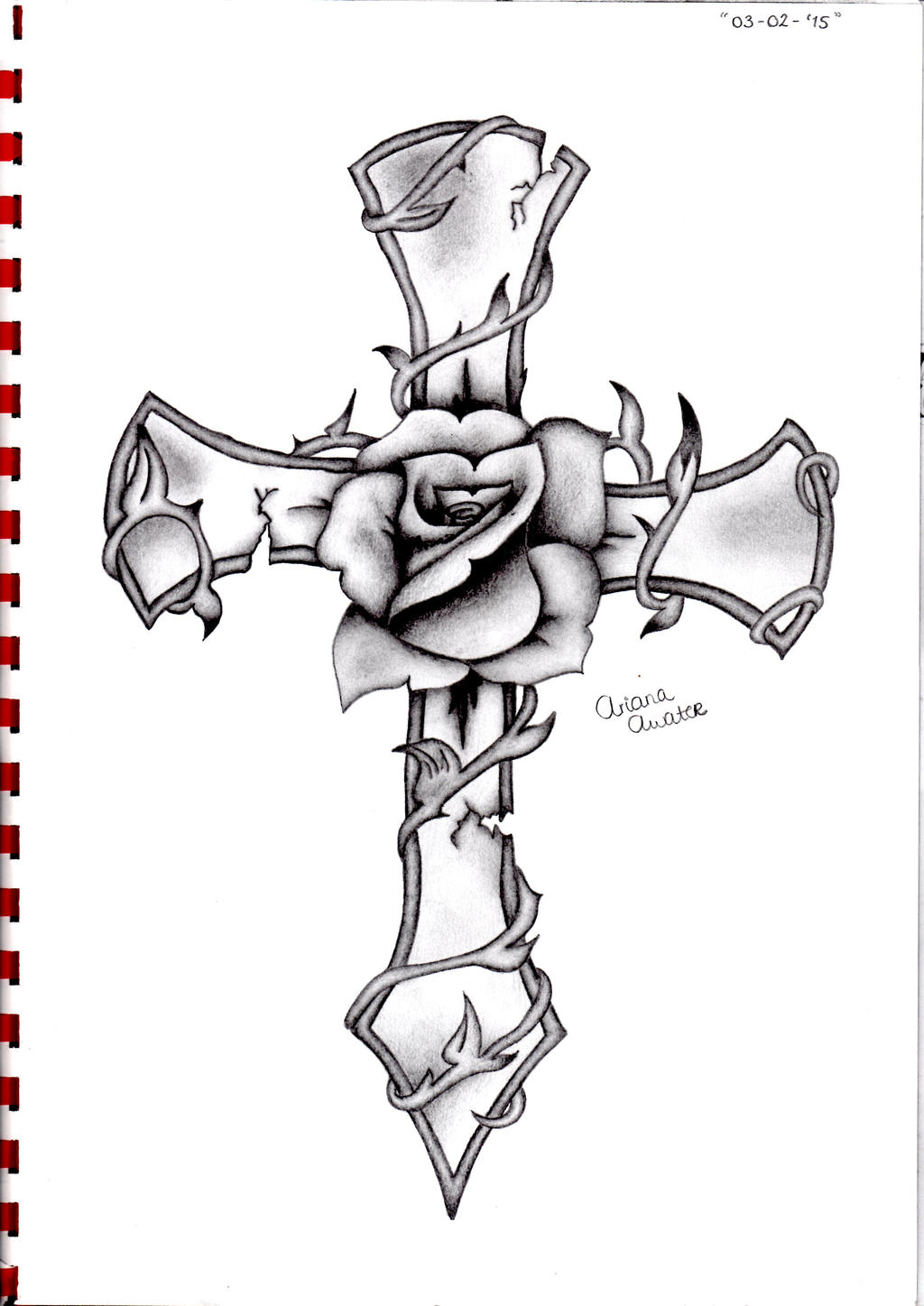 Cross rose by ariana 1997 on deviantart for 1997 tattoo designs