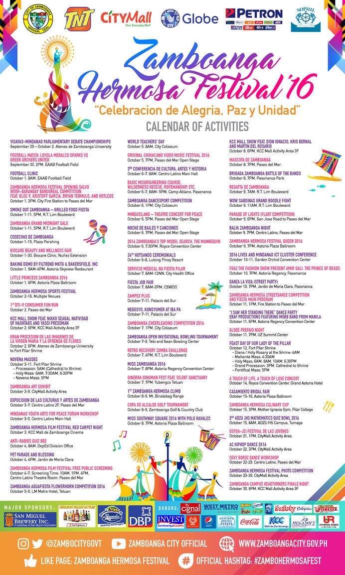 Zamboanga Hermosa Festival 2016 Schedule by resurrect97