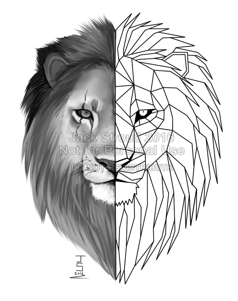 Line Drawing Lion Head : Geometric lion tattoo by prince petrichor on deviantart