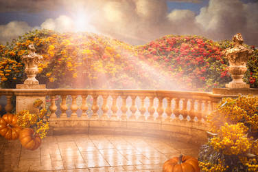 Free Autumn Balcony Digital Backdrop