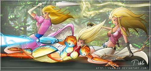Nintendo's Angels (Peach Samus Zelda) by PAabloO