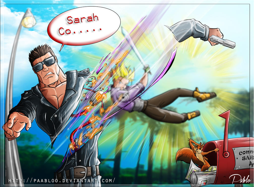 No cyborgs 2: Trunks versus T800 by PAabloO