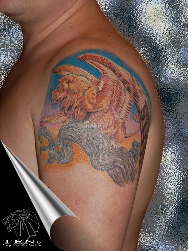 Winged lion tattoo - photo#3