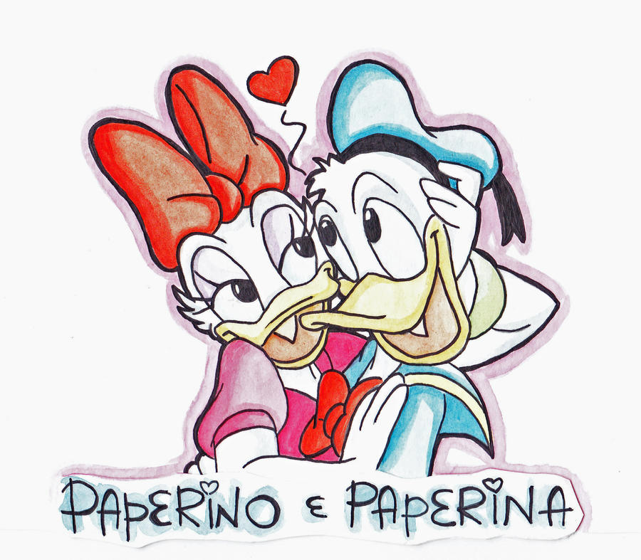 Donald and daisy duck kissing drawing - photo#4