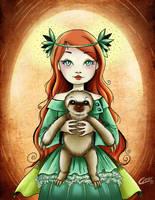 Nila y el  oso perezoso by Akriel