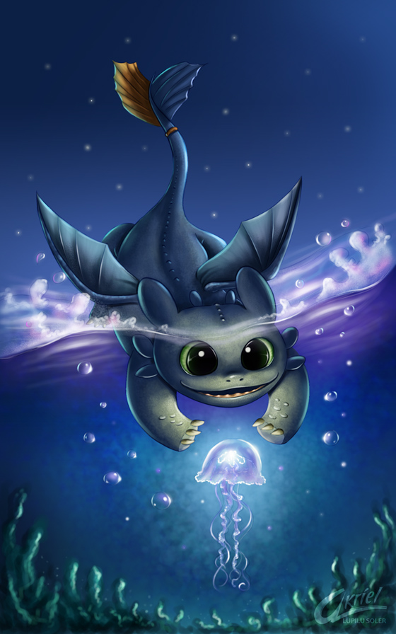 Chibi toothless by Akriel
