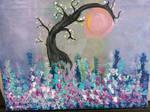 Lilacs and Tree