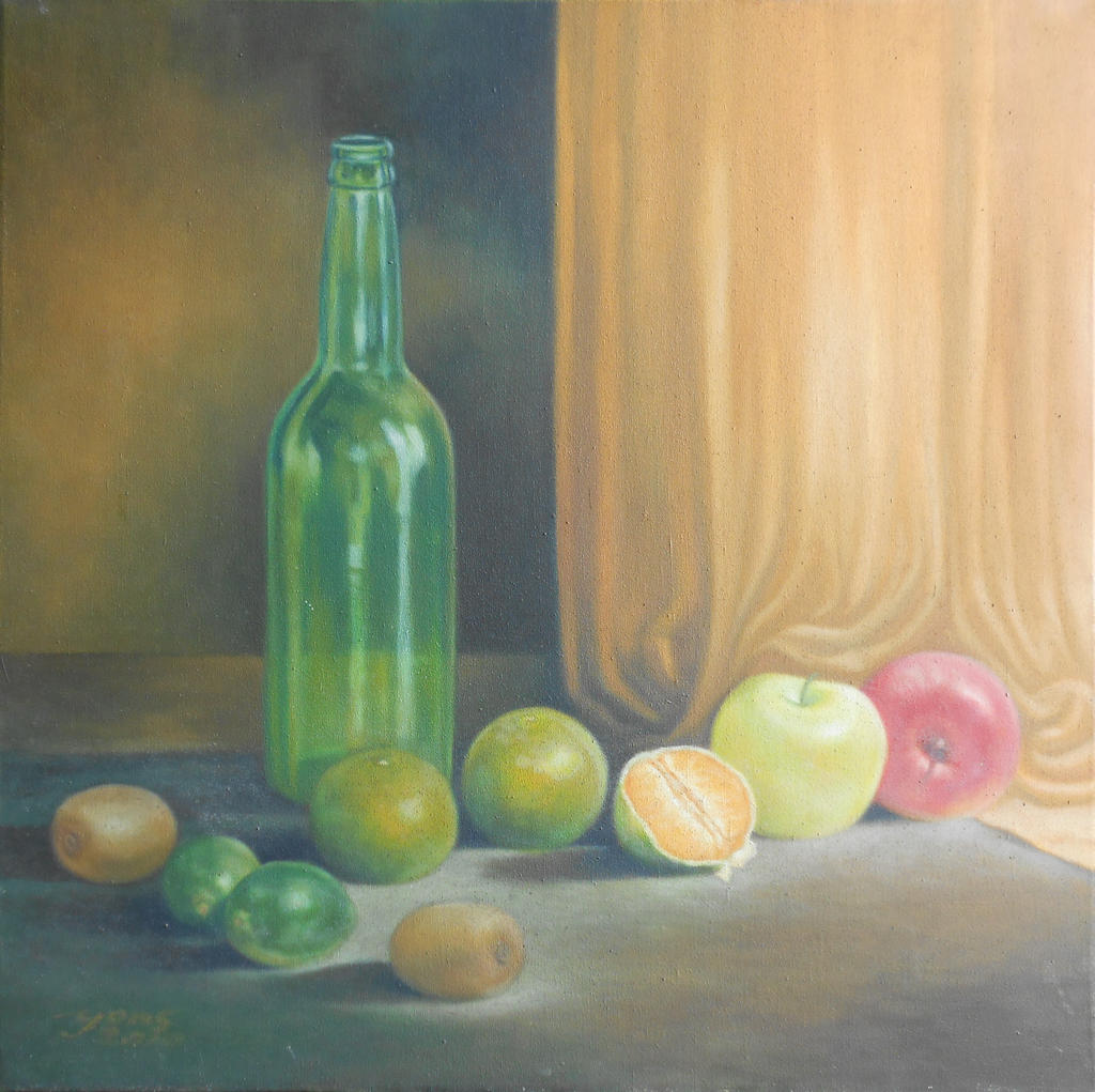 Still Life with Bottle and Fruits by yons26