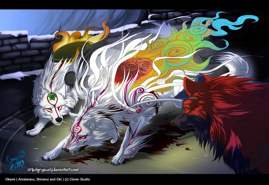 Okami - refusing to fall by Grypwolf on DeviantArt