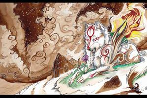 Okami - Sepia night by Grypwolf