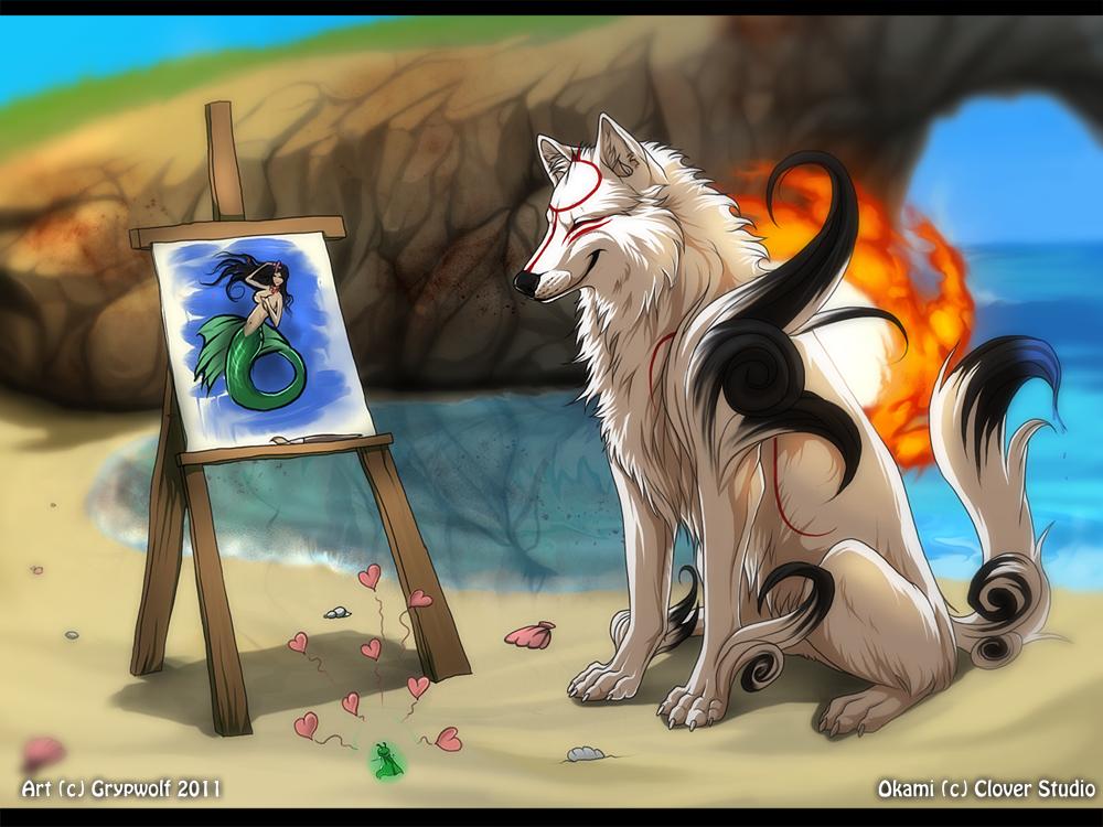 Okami - Trading Some Art by Grypwolf