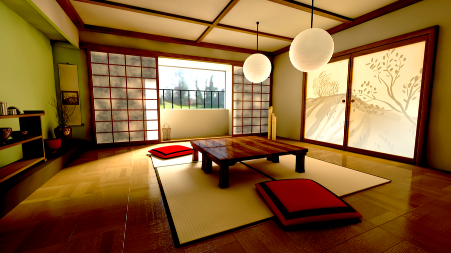 Japanese room by skyknightb on deviantart for Living room ideas japan