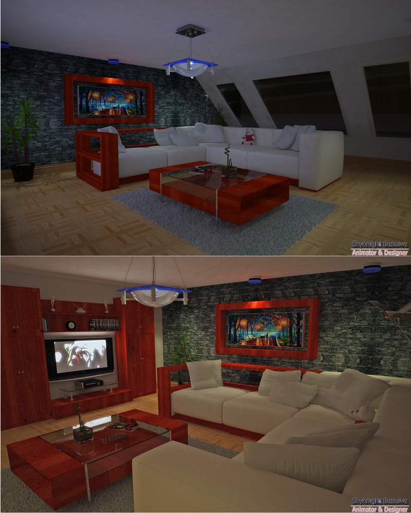 Living Room Artwork Mockup Blue