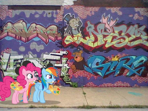 Rainbow Dash and Pinkie Pie Street Art by Paris7500