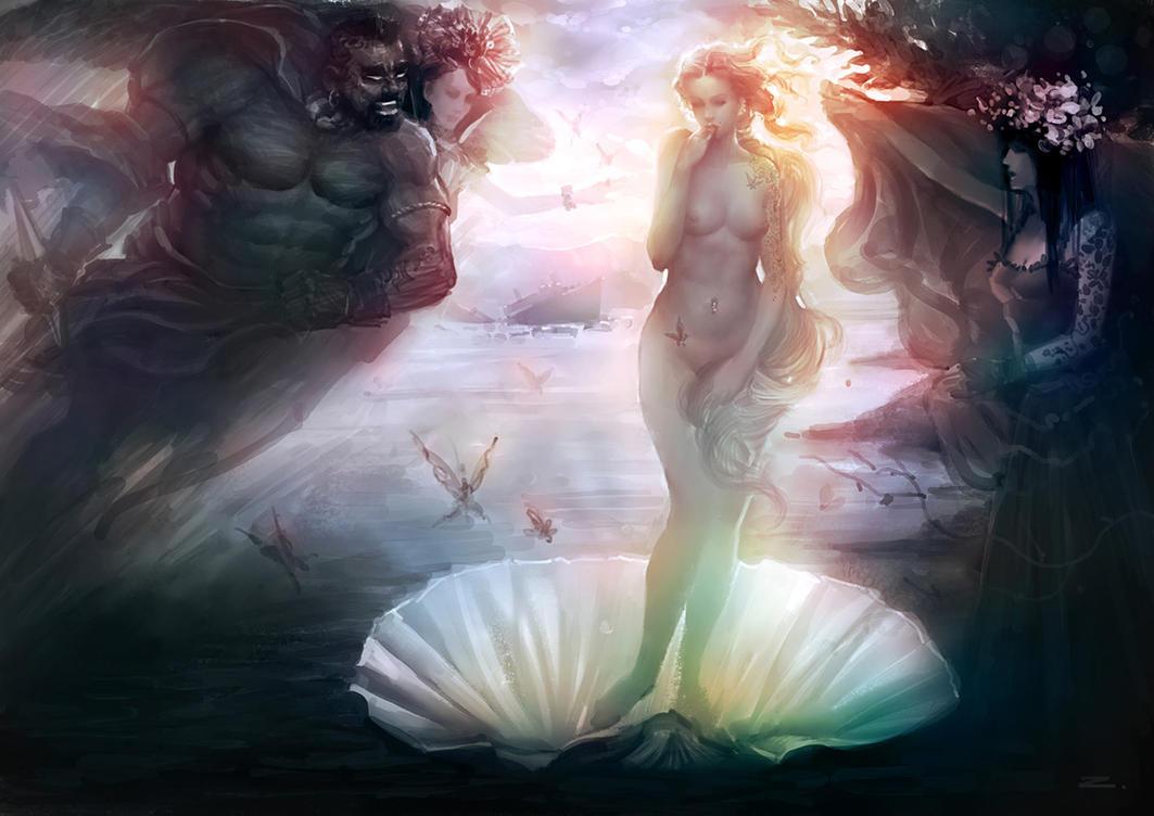 birth of venus Venus, en el cuadro venus y marte en la madonna della melagrana o virgen de la granada como pallas(atenea) dominando al centauro detalle en el magnificat.
