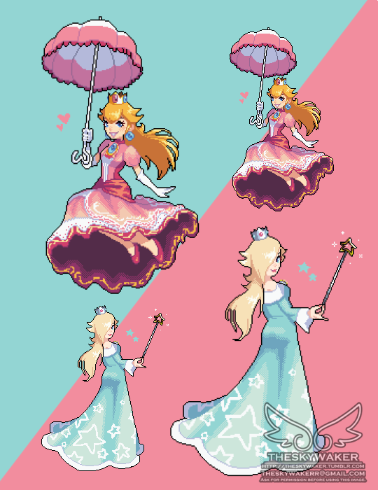 Pixel Peach And Rosalina 6 8 2017 By Theskywaker On Deviantart