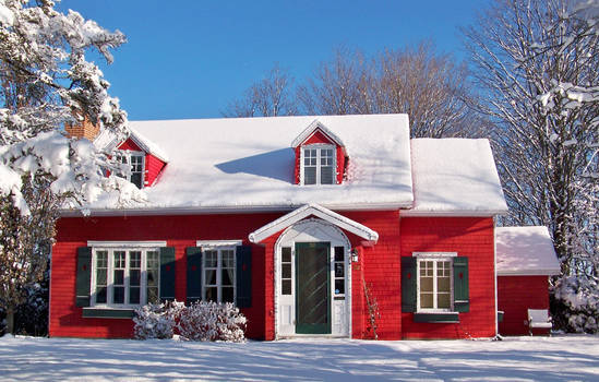 Red house and snow