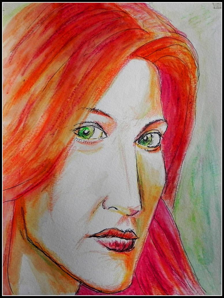Gilian Anderson (Watercolor) by philippeL