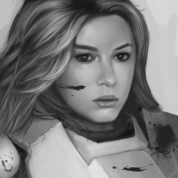 girl in armor by omi-kun
