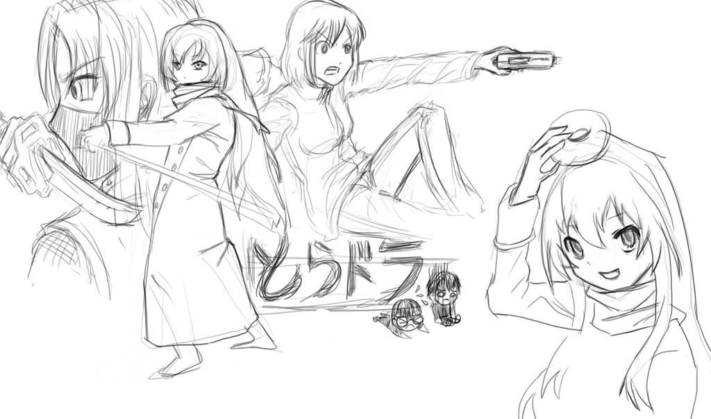 Toradora line art by omi-kun